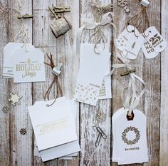Gorgeous gold embossed Christmas tags made with stamps and Silhouette Cameo. By Nichol Magouirk for Kerri Bradford Studio