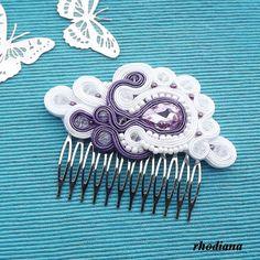 White & Violet Soutache comb, Wedding Hair Accessory, Soutache , Wedding Hair, Ivory