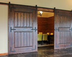 Want this in my house! Rustic Barn Door Hardware on Wine Tasting Room - traditional - wine cellar - portland - Real Sliding Hardware Sliding Door Hardware, Sliding Barn Door Hardware, Sliding Doors, Rustic Hardware, Window Hardware, Winery Tasting Room, Wine Tasting, Wine Cellar Design, Barn Door Designs