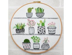 Rosie's House Plants hand embroidery hoop succulents pdf