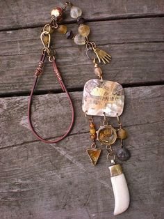 Maggie Zee Bone and shell amulet