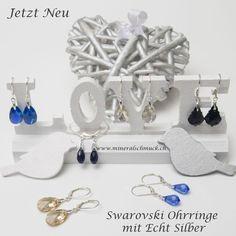 Swarovski Ohrringe mit 925 Sterling Silber Schmuck Online Shop, Amethyst, Place Card Holders, Sterling Silver Jewelry, Rhinestones
