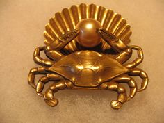 Joseff Hollywood Crab Shell Pearl Brooch by uselessorpriceless, $250.00