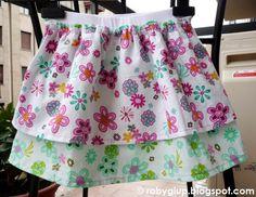 Girl skirt with double layer of cotton fabric - Gonnellina da bimba in cotone doppio strato - RobyGiup handmade