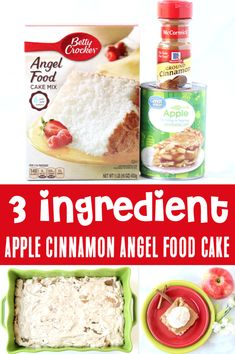 Apple Desserts - Easy Fall Angel Food Dump Cake!  With the perfect blend of fragrant Cinnamon and sweet Apples, this cozy Fall dessert is just what your week needs!  It's light, fluffy, and the perfect ending to any day!  Just 3 ingredients and you're done!  So go grab the recipe and give it a try this week! Angel Food Dump Cake Recipe, Angel Food Cake Desserts, Dump Cake Recipes, Dessert Cake Recipes, Fall Desserts, Delicious Desserts, Apple Desserts, Dump Cakes, Thanksgiving Desserts