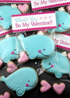 Decorated Valentine whale cookies. This would be a perfect Valentine favor for a party. www.carleykelley.com