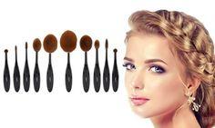 Groupon - LaRoc Five- or Ten-Piece Oval Brush Set from (Up to Off). Foundation Sets, Liquid Foundation, Oval Brush Set, Eyeliner, Eyeshadow, Loose Powder, Blusher, Makeup Brush Set, Synthetic Hair