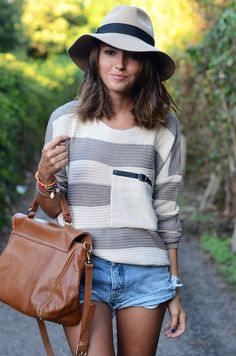 Casual yet elegant. Sweater. Sun hat. Bag. Bracelet. Shorts. Fashion.