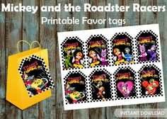 Mickey and the Roadster Racers Favor tags, Mickey favor tags Mickey | PapelPintadoDesigns - on ArtFire