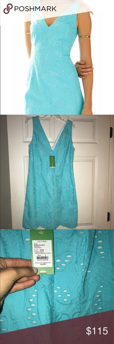 Lilly Pulitzer dress Lilly Pulitzer madden scallop hem Vneck dress in Shirley blue!! Gorgeous dress new with the tags! Lilly Pulitzer Dresses Mini