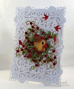 Floral Vines Birdhouse Haven - KC Memory Box Birdhouse Village - The birdhouse was cut using white Woodgrain Embossed cardstock and colored with scattered straw and vintage photo ink using mini applicators. Spellbinders Cards, Bird Cards, Card Making Inspiration, Pretty Cards, Paper Cards, Homemade Cards, Bird Houses, Cardmaking, Christmas Cards