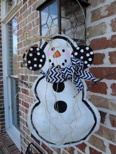 Snowman Burlap Door Hanger Door Decoration Winter by nursejeanneg
