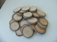 NEW - Wood Slices - 25 Blank White Tree Branch slices,Drilled - Tags Supplies - Wedding Supplies - Jewelry Supplies - 2 1/2 in diameter. Tree Branch Crafts, Tree Branches, Wooden Slices, Woodworking Saws, Wedding Decorations, Christmas Decorations, Wood Tags, Table Design, Wood Candle Holders