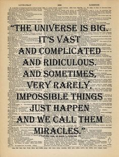 Doctor Who Quote - Universe and Miracles (from VintagePatternHeaven on etsy)