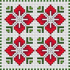 biscornu cross stitch pattern in red and green shades on white fabric 14 ct.Floral biscornu cross stitch pattern in red and green shades on white fabric 14 ct. Biscornu Cross Stitch, Cross Stitch Fabric, Cross Stitch Borders, Cross Stitch Flowers, Cross Stitch Charts, Cross Stitch Designs, Cross Stitch Embroidery, Cross Stitch Patterns, Folk Embroidery