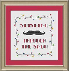 Stashing through the snow: funny Christmas mustache cross-stitch pattern. $3.00, via Etsy.