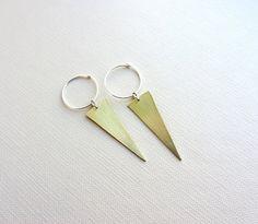 Gold hoop long earrings, triangle dagger