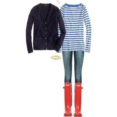 """Navy, cobalt blue stripes & red OOTD"" by maomi on Polyvore"
