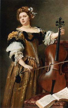The Cello by French Painter Gustave Jean Jacquet 1846-1909
