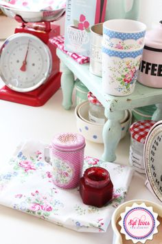 Red, white, mint, GreenGate, pink, retro, Syl loves