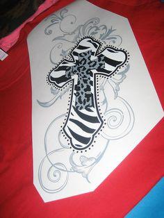 Animal Print Cross in Black White Gray Zebra & by cthorses66, $3.99