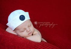 Newborn Props Sailor Hat Baby Boy Hat by CottonBabyBonnets on Etsy, $24.00