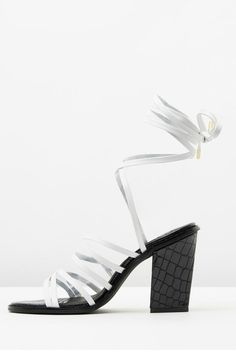 Genuine leather upper and lining in an embossed crocodile pattern. With aRounded, open-toe design and slender straps across the vamp it has wrap-around ankle straps with gold tips with a height of 10.5 cm.   Ozi Heel by SOL SANA. Shoes - Sandals - Heeled Sydney, New South Wales, Australia