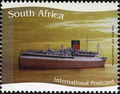 Stamp: Edinburgh Castle (South Africa) (Ships of the Union Castle Line) Mi:ZA Union Of South Africa, Edinburgh Castle, African History, Afrikaans, Postage Stamps, Sailing Ships, Landscape Photography, Boats, African Animals