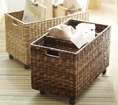 FIRST FLOOR BATHROOM (use compartments for laundry/small recycling bin/spare toilet paper roll storage) Savannah Recycling Bin #potterybarn