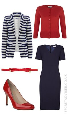 Navy dress with red accessories outfit idea