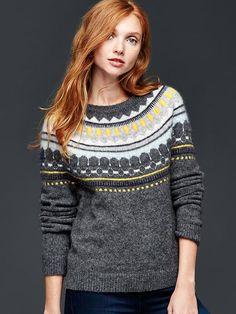 Circular fair isle sweater Charcoal gray size L Nordic Pullover, Nordic Sweater, Pullover Design, Sweater Design, Long Sweaters, Sweaters For Women, Gap Sweaters, Long Sleeve Sweater, Long Sleeve Tops