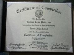 Went to Tustin High School Class of 2010 with a Certificate of Completion.