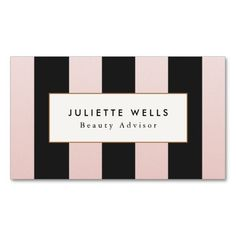 Elegant Pink and Black Striped Beauty Salon Business Card Templates - great business card for beauty consultants such as hair stylists, cosmetologists, makeup artists, salon and spa owners and more. Beauty Business Cards, Salon Business Cards, Makeup Artist Business Cards, Black Business Card, Branding, Ideas Geniales, Card Templates, Business Card Design, Nail Salons
