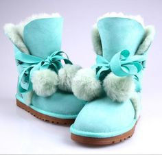 Lovely Lace-Up Bowknot Fluffy Snow Boots