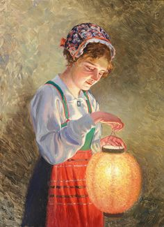 "Emil Lindgren (Swedish, 1866-1940), ""Girl with lamp"" 