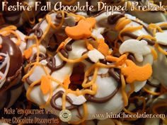 So much fun to make - and easy peasy for the kiddos to help!! #Gourmet #Chocolate Dipped #Pretzels for #Fall  #Dove #DoveChocolate #FallFood #GourmetChocolate #ChocolateLover #ChocolateFix #ChocolateExperience #KimChocolatier #DoveChocolateDiscoveries