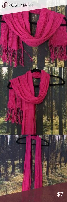 Hot Pink Scarf Great Condition. Nice crotaie work. Wear in summer or spring. No stains. 100% Rayon. Accessories Scarves & Wraps