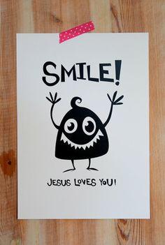 Grafiskt tryck: Smile! Jesus loves you