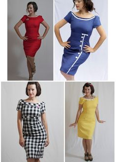 "All of these altered from the same pattern. The red one ""buttons"" all the way up the back. Perhaps, I could incorporate some of these alternations to the free peggy contest I pinned here http://pinterest.com/pin/83879611782223924/"