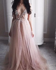 Crystal Beading Deep V Neck Sexy Prom Dress,