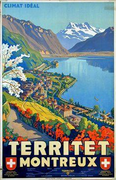 Vintage Trvel Poster - Territet Montreux - Switzerland - by Johannes Emil Mûller.