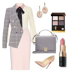"""Blazer, Pencil Skirt and Bow Blouse"" by arta13 on Polyvore featuring Roksanda, Oscar de la Renta, ESCADA, Tom Ford, Kevin Jewelers, Bobbi Brown Cosmetics, Christian Louboutin and Smythson"