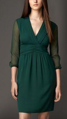 Silk Ruched Detail Dress