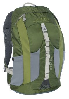 ALPS Mountaineering Valdez Daypack, Green. Green lightweight polyester ripstop; Padded waist belt. Vented back allows maximum air flow. Rescue whistle buckle on sternum strap; Side neoprene water bottle pockets. Front stretch neoprene pocket; Hydration pocket and port. Capacity: 1500 cubic Inch/25L; Weight: 2 pounds, 2 ounces; SKU 6101007.