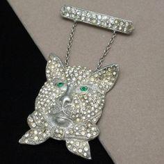 Vintage Cat Pin Dangling from Bar Pot Metal Rhinestones | eBay