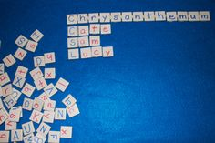 """Letter manipulatives made from sheet of 1"""" ceramic tiles from hardware store.  Add magnets on the back and a cookie sheet! Great to use after reading """"Chrysanthemum"""" by Kevin Henkes. Let children compare the lengths of their names. #Creative_Curriculum for #Preschool"""