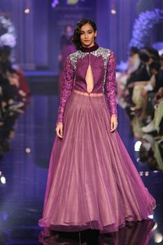 long sleeve mauve purple lengha | The Glossy Grand Finale by Manish Malhotra {Lakme Fashion Week 2014} - Gallery - TheBigFatIndianWedding.com