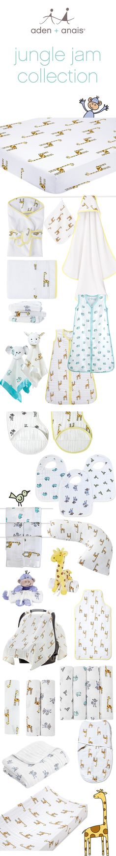 Giraffes, monkeys, little birds and elephants, galore! We've got all the cotton muslin baby essentials you need to complete your jungle nursery!