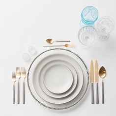 Pewter Chargers + Heath Ceramics in Opaque White + Axel Flatware in 24k Gold/Brushed Silver finish + Vintage Aqua/EAPG/Coupe Trios + Antique Crystal Salt Cellars | Casa de Perrin Design Presentation