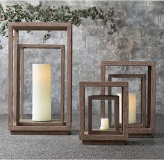 RH's Ventana Teak Lantern :A study in modern geometry, our teak lanterns feature a rotating inner frame that creates an intriguing play of light. A striking accent when used in multiples to line a pool, pathway or stairs.
